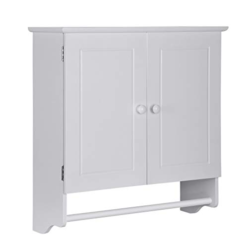 """ErYao Shipped from USA, Bathroom Storage Cabinet with Double Door Cupboard and Towels Bar, Bathroom Wall Cabinet, Bathroom Shelf Over Toilet,Bathroom Medicine Cabinet, 23.8 x 8.9 x 25"""" (White)"""