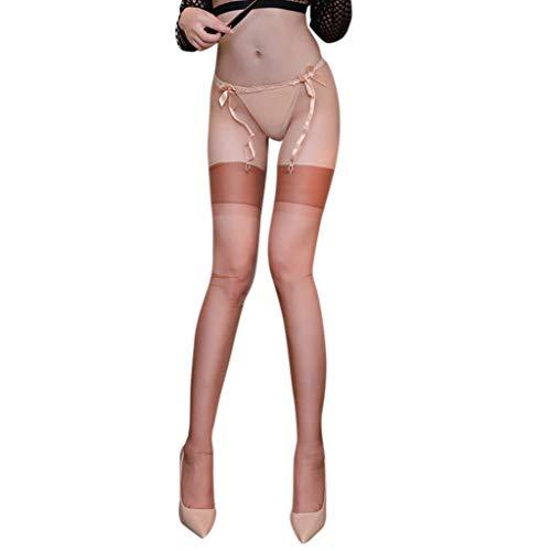 VIccoo Schenkelhohe Strümpfe, Womens Erotic 5D ultradünne Nylon Lange Socken breites Band Patchwork Schiere über Knie Öl Glanz Glitter Vintage Dessous - Braun