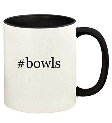 #bowls - 11oz Hashtag Ceramic Colored Handle and Inside Coffee Mug Cup, Black