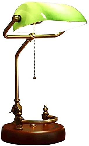 Lámpara de mesa de banquero antiguo de la vendimia, base de madera maciza de madera de cristal verde esmeralda, lámpara de mesa de escritorio retro, luz de escritorio de estilo antiguo E27