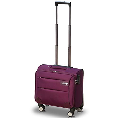 wheeled spinners Underseat Rolling Briefcase on Wheels, Business Travel Laptop Tote Bag Softside Rolling Computer Case Spinner Mobile Office Carry On Luggage with Lock for Notebook (Color : Purple, Size : 20inch)