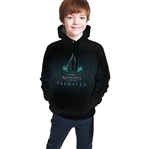 Drawstring Teenager Hoodies Assassins_Creed_Valhalla Boy's Girl's Hoody Pullover Children Gift Sweater with Pockte Black