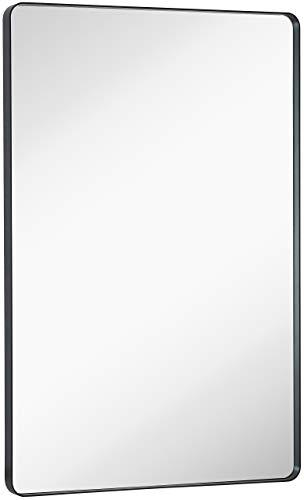 Hamilton Hills Black Mirror Bathroom Mirrors for Wall Rounded Corner Lightweight Deep -