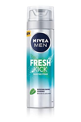 NIVEA MEN Fresh Kick Shaving Foam (200ml), Refreshing Shaving Foam, Shaving Foam for Men Infused with Mint & Cactus Water, Mens Shaving Foam