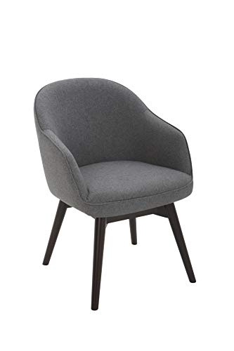 Amazon Brand – Rivet Vern Contemporary Round Back Swivel Dining Chair with Arms, 23'W, Graphite
