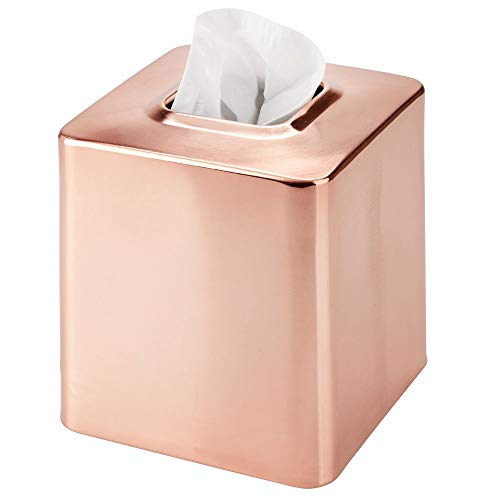 mDesign Square Metal Paper Facial Tissue Box Cover Holder for Bathroom Vanity Countertops, Bedroom Dressers, Night Stands, Desks and Tables - Rose Gold