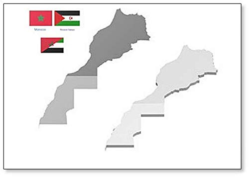 Marokko & Westsahara Karte mit Flagge Kühlschrankmagnet