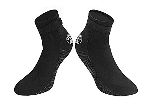Black 3mm Diving Socks Non-Slip Water Shoes Quick Dry Sports Aqua Shoes Outdoor Waterproof Swim Shoes Snorkeling Beach Shoes Boots Anti-Leak Soft Dive Boots Stretchy Wetsuit Socks Surfing Sock