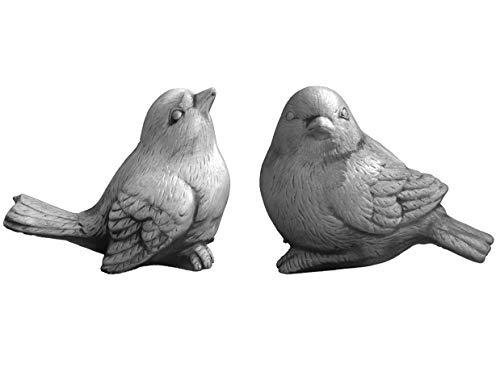 gartendekoparadies.de Set Stück 2 Massive Stein Vögel Tierfiguren Steinguss frostfest