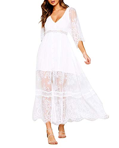 Style Dome Damen Schulterkleid Langarm Boho Kleid Blumenmuster Strandkleid Sommerkleider Lang Maxikleid 6 Weiß S