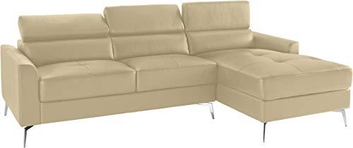 Loft24 A/S 3-Sitzer Sofa L-Form Couch Ecksofa Polsterecke mit Recamiere Leder Metallbeine (Creme Recamiere rechts, Leder)
