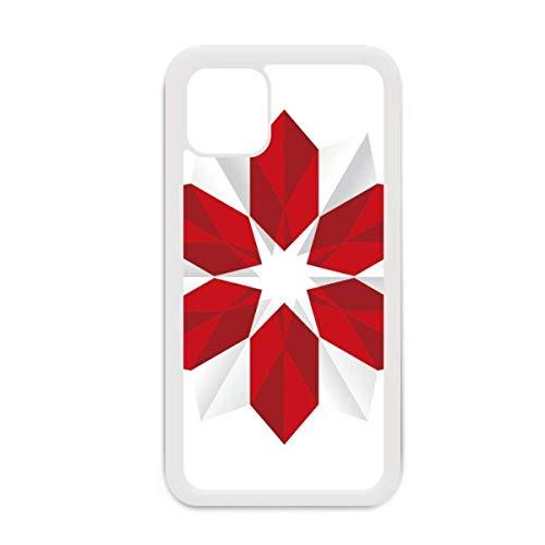 Resumen de flores de Navidad patrón de origami para iPhone 12 Pro Max cubierta para Apple Mini Mobile Case Shell blanco