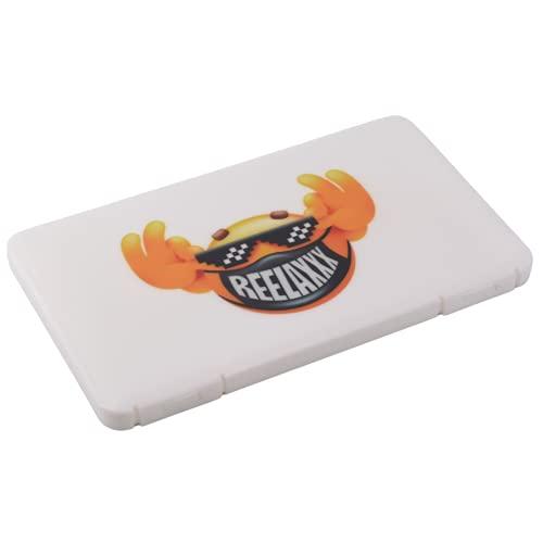 REELAXXX - Boite à Masque Rangement Rectangle - Enfant - Adulte - Smiley Blanc Exclusif - Pochette Protection Plastique - Range Porte Etui - Auto - Ecole - 19cm X 11cm x 1cm
