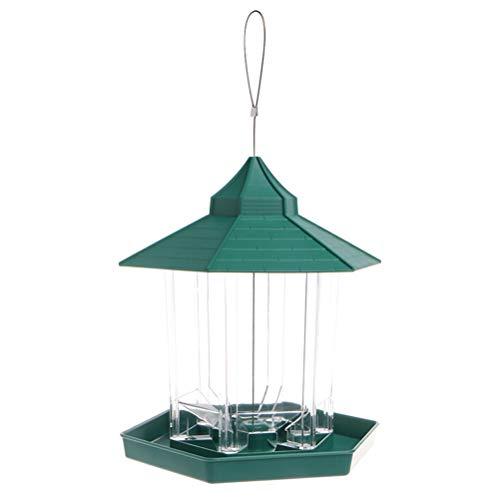 POPETPOP Alimentador de pájaros en Forma de casa Transparente Alimentador de pájaros en Forma de Bandeja extraíble Orificios de Drenaje (Verde)