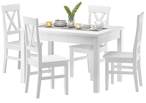 Erst-Holz® Esszimmergarnitur Massivholz weiß mit Tisch und 4 Stühlen 90.70-51 C W-Set 23