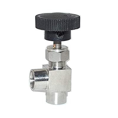 "Fincos 90 Degree Adjustable Needle Valve 1/8'' 1/4'' 3/8"" 1/2'' BSP Right Angle Female Thread for Water Gas Oil SS304 - (Specification: 1/2"") by Fincos"