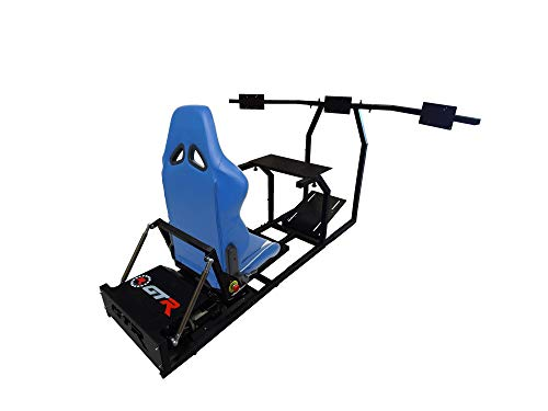 GTR Simulator - GTM Motion Cockpit w/Real Racing Seat for Racing Simulator Flight Simulator & Driving Simulator Games. Includes Triple Monitor Mounts (Black Frame + Blue w/White Stripe Gaming Chair)