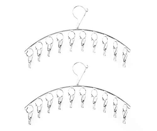 FISHSHOP 2 Stück Edelstahl Kleiderbügel mit 10 Clips Trockengestell Winddicht für Trocknen Socken, Baby Kleidung, Stoffwindeln, Bras, Handtuch, Unterwäsche, Schal, Mütze, Hose, Handschuhe