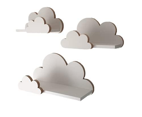 MOLILAND Juego de estanterías de Pared con diseño de Nubes, estanterías para habitación Infantil y bebé de Madera Estilo escandinavo, Color Blanco Moli Elegance