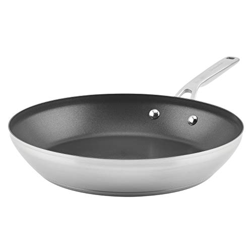 KitchenAid 3-Ply Base Brushed Stainless Steel Nonstick Fry Pan/Skillet, 12 Inch