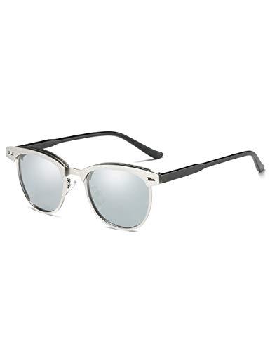 Rocf Rossini Halbrandlose Polarisierte Clubmaster Sonnenbrille für Männer Klassische Metall Retro Polarisierte Frauen Sonnenbrille UV400 (Silber)