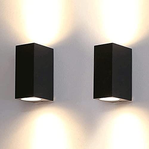 Lámpara De Pared Exterior De Aluminio Up Down, Portalámparas De Pared Exterior con Zócalo GU10, Luces De Jardín Negras Impermeables IP44 para Terraza, Pasillo, Porche (Paquete De 2)