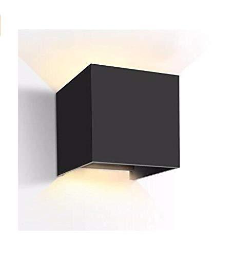 Divgdovg Applique Murale Exterieur Interieur Noire,Anti-Eau IP65 Réglable Lampe Up and Down Moderne Design chaud pour le porche lumineux de jardin couloir chemin Noir 12W blanc chaud