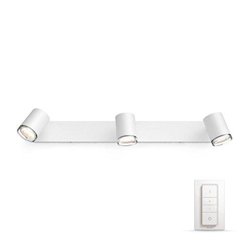 Philips Hue Adore LED 3-er Spot, inkl. Dimmschalter, dimmbar, alle Weißschattierungen, steuerbar via App, kompatibel mit Amazon Alexa (Echo, Echo Dot), weiß
