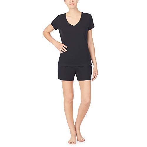 Nautica Women's V-Neck Sleep Top, 100% Cotton Jersey, Black, XL