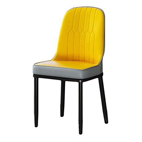 Faux Leather Dining Chair Modern Style Dining Chair Cushioned Soft Seat with Sturdy Black Metal Legs Home Furniture Easy Assembly (Color : Yellow+Gray, Size : Black Legs)