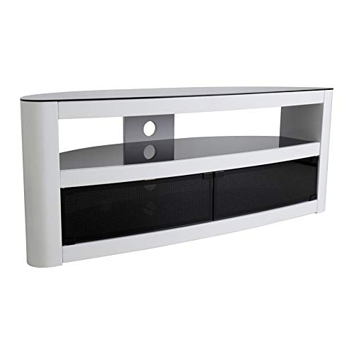 Burghley Affinity Curved TV Stand 1250 Gloss White/Black Glass