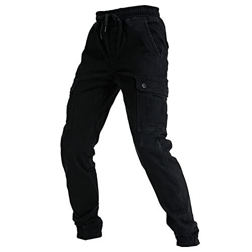 Pantalones De Motocicleta Para Hombre, Pantalones De Ocio Anticaída, Pantalones De Jogging De Carga, Adecuados Para Todas Las Estaciones Con Equipo De Protección * 4 (Negro,S)