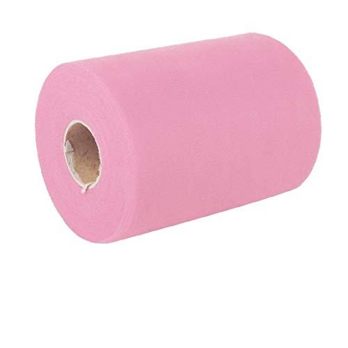 Rollo de malla de tul de tela de tul carrete de tela bobinas para manualidades, decoración de regalos, color rosa