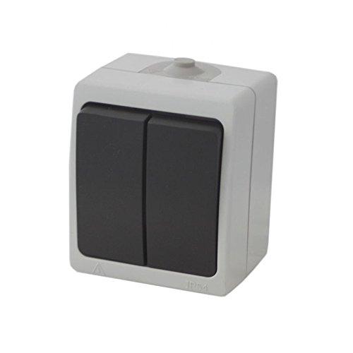 Doppel IP54 Aufputz Feuchtraum Lichtschalter | Ein-/Ausschalter | Stromschalter mit 2 Wippen | Wippenschalter für Außenbereich