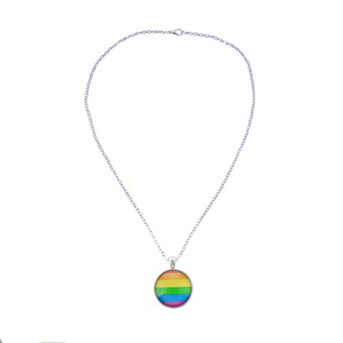 FENICAL Collar de la Bandera del Orgullo Gay Lesbiana Arco Iris Colgante Collar de Cadena Colgante de joyería