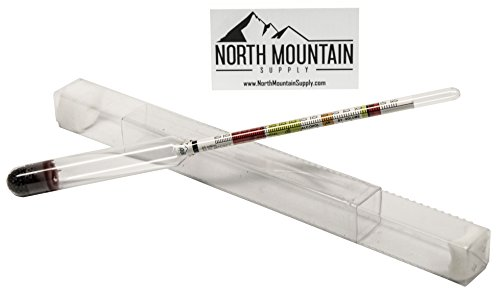 North Mountain Supply Glass Triple Scale Hydrometer - Specific Gravity 0.760-1.150 - Potential ABV 0-16% - Sugar Per Liter 0-341