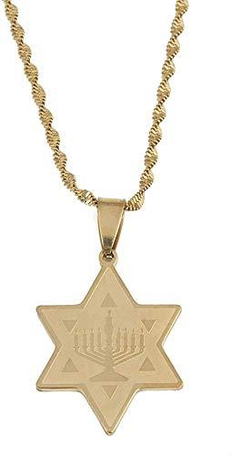 Collar de Templo de Menorah de Acero Inoxidable con Colgante de Estrella de David, joyería de Estrella de Moda