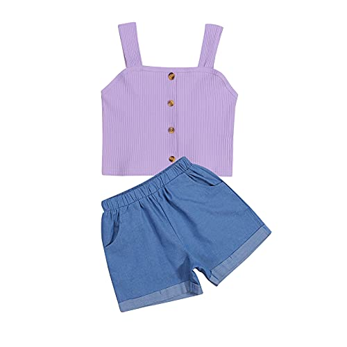 Toddler Baby Girl Summer Clothes Set Sleeveless Tube Strap Crop Tops Elastic Shorts 2Pcs Ribbed Outfits (Purple, 4-5 Years)