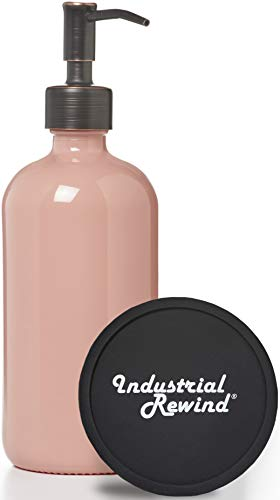 Coral Colored Glass Soap Dispenser with Oil Rubbed Bronze Metal Pump and Coaster for Non Slip Bottom / Countertop Protector- 16oz Glass Jar Lotion Bottle by Industrial Rewind (Coral/ORB)