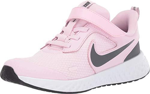 Nike Unisex-Kid's Revolution 5 Pre School Velcro Running Shoe, Pink Foam/Dark Grey, 13C Regular US Little Kid