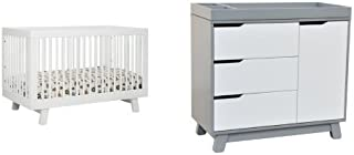 babyletto Hudson 3-in-1 Convertible Crib with Toddler Rail, White and Hudson Changer Dresser, Grey/White