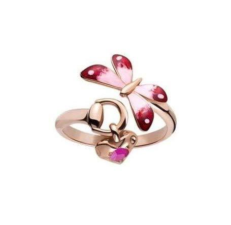 Gucci Anillo Flora de oro rosa de 18 quilates, talla 14, YBC391011002014