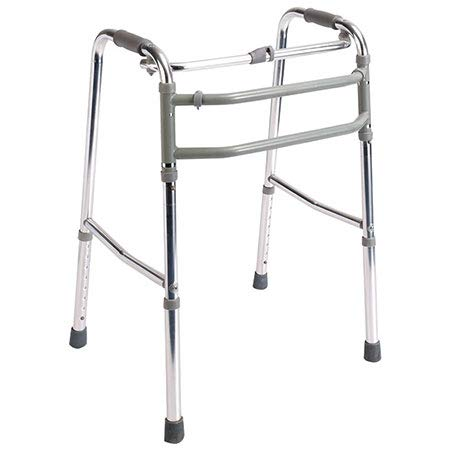 Mobiclinic, Mezquita, Andador para ancianos, mayores, adultos o minusválidos, ayuda para caminar, regulable en altura, aluminio, ligero, plegable, sin ruedas, empuñaduras ergonómicas, gris