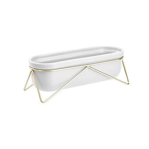 Amazon Basics Pflanztopf für den Tisch, oval, Weiß / Messingfarben