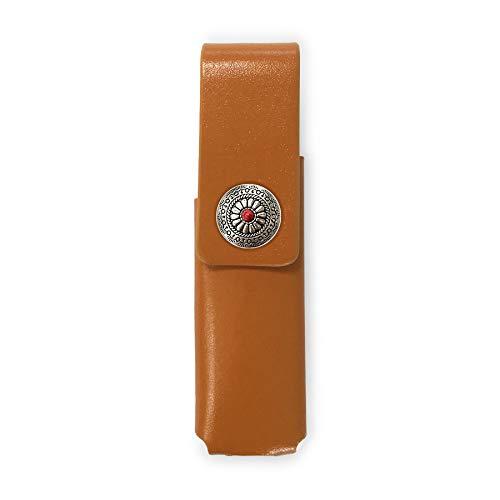 IQOS 3 MULTI 専用 アイコス3 コンチョ 本革 マルチ ケース (ライトブラウン/ネイティブコンチョ05) iQOSケース シンプル 無地 保護 カバー 収納 カバー 全4色 電子たばこ 革