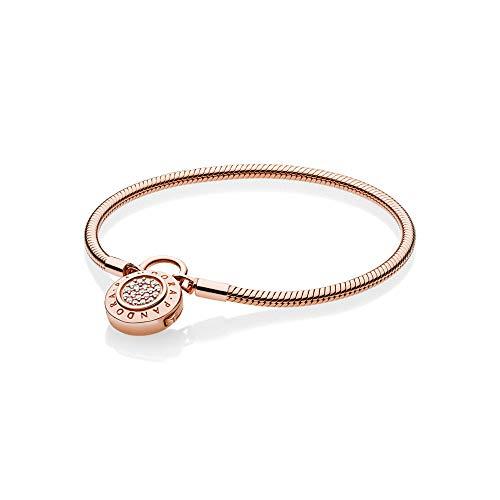 PANDORA Smooth Rose Signature Padlock Bracelet, Clear CZ, 587757CZ-16