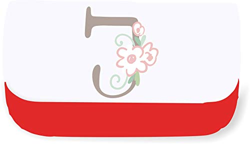 Sweet Baby Floral Style Alphabet Letter J Clutch Style Pencil case - red