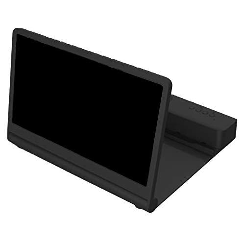 Kaxofang Soporte para TeléFono con Amplificador de Pantalla 3D de 14 Pulgadas Lupa de TeléFono MóVil PelíCulas PortáTiles Soporte de Soporte de Altavoz Negro
