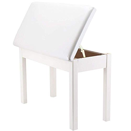 PIVFEDQX Piano Stool Piano Keyboard Bench PU Leather Breathable Digital Piano Chair with Storage for 2-Person Comfortable Seating Experience (Color : White, Size : One Size)