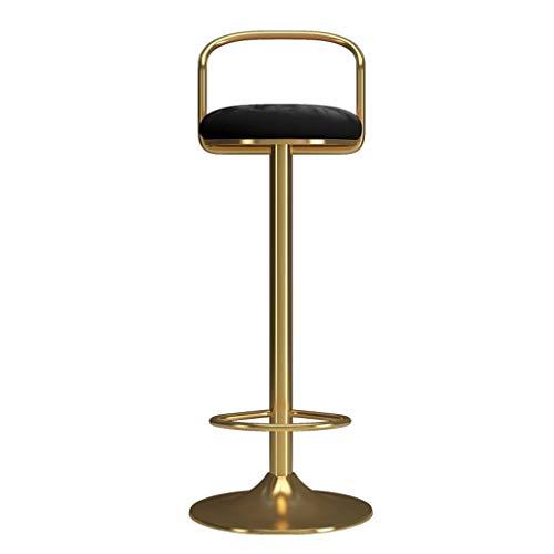 Chaise de Tabouret de Bar 65-80cm Repose-Pieds et Dossier en Fer doré Chaise de Salle à Manger avec siège pivotant Réglable en Hauteur pour Kitchen Pub Café, Max. Charge 440lb,Black